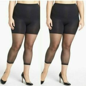 Two Spanx Womens Footless Higher Power Capri Black